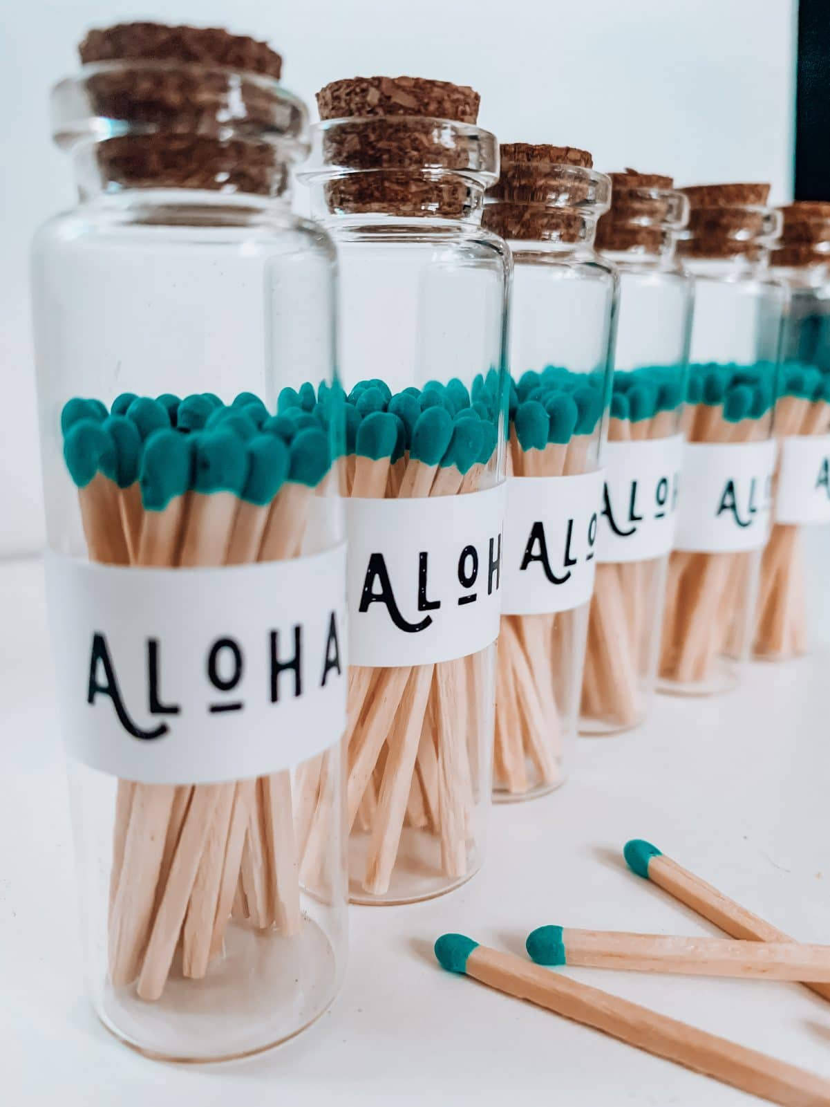 Allumette fiole en verre aloha bleu