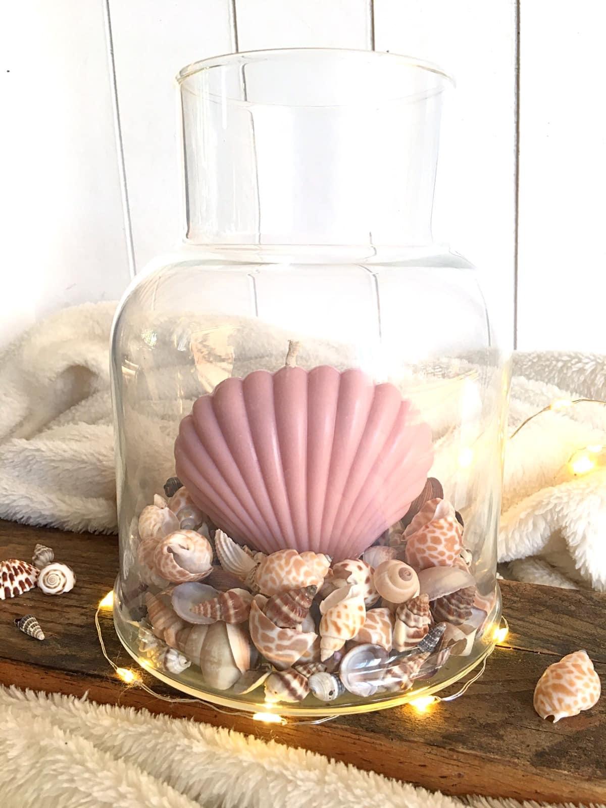 Bougie coquillage rose pastel vegetale surf californie