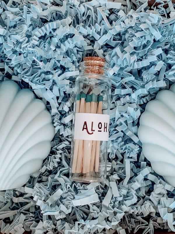 Coffret de noel bougie coquillage bleu vegetale allumette aloha