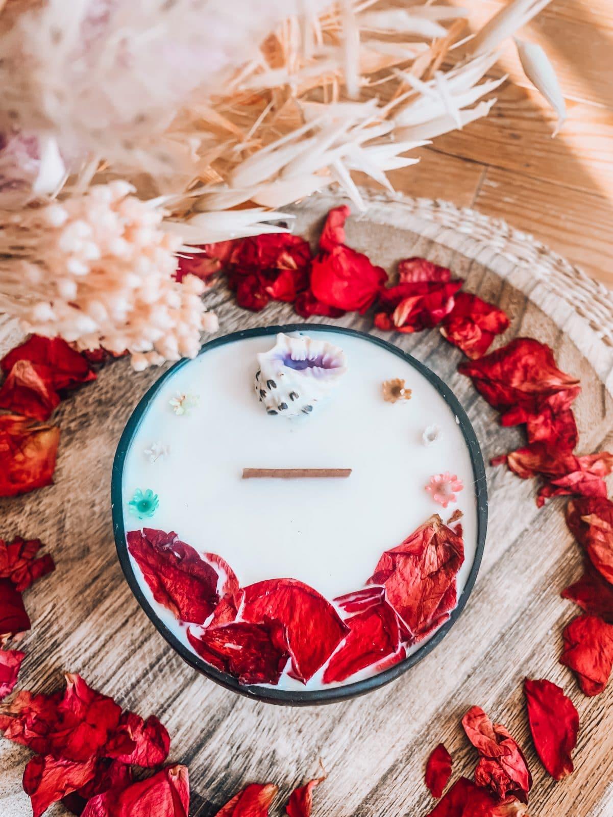bougie bijou vegetale et naturelle fleurs séchées
